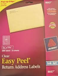 avery clear inkjet return address labels 25 sheets 1 2 x 1 3 4 8667