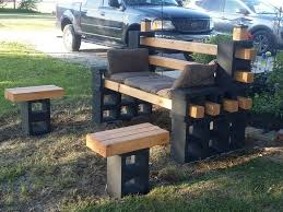 Diy Patio Furniture Cinder Blocks Cinder Block Bench And Tables I Built The Bench Using 12 Blocks