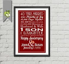40 year anniversary gift ideas ruby wedding gift 40th wedding anniversary subway printable