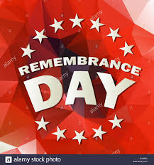 abstract low poly red background with remembrance day text vector