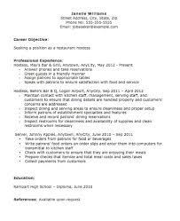 Resume Objective For Restaurant Hostess Resume Objective Hostess Host Resume Janella Williams