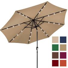 Patio Umbrella Led Lights by Bcp 10ft Deluxe Solar Led Lighted Patio Umbrella W Tilt