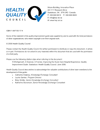 Senior Comfort Guide Quality Improvement Project Guide
