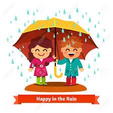 imagenes animadas sobre amor niños y niñas de pie bajo la lluvia bajo un gran paraguas concepto