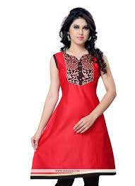 lace work red casual kurti new arrivals