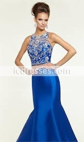 abendkleider 2016 new fashion mermaid scoop two piece prom dresses