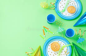 Boy Birthday Decorations Boy Birthday Decorations On Green Table Stock Photo Image 39356264