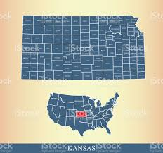 Kansas Counties Map Kansas County Map Outline Vector Illustration In Creative Design