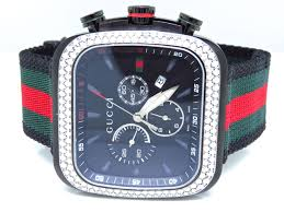 Red Flag Band Mens Black Gucci Coupe Red Green Flag Band Diamond Sports Watch