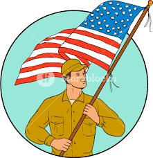 Flag Circle Drawing Sketch Style Illustration Of An American Soldier