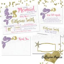Baby Shower Invitations And Thank You Cards Mermaid Pink Purple Gold Baby Shower Invitation Set Thank You