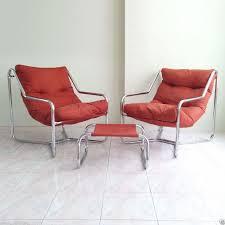 2 mid century modern chrome sling lounge chairs u0026 ottoman tubular