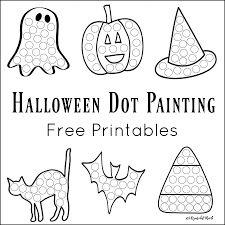 halloween line art halloween dot painting free printables the resourceful mama
