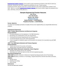 Resume Format Pdf For Mechanical Engineering Freshers by Resume Of Electrical Engineer Fresher