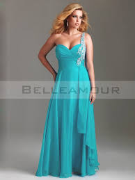 robes de cocktail pour mariage de soirée grande taille bleu mousseline une epaule appliques