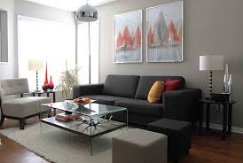 living room black fabric small sofa with orange grey ottoman