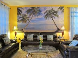 interior design cool beach themed living room with black leather