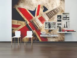 Kids Bedroom Rock Wall Rock Guitar Union Jack Wallpaper Mural Kool Rooms For Kool Kids