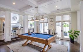 expensive pool table family room beach style with coffered ceiling