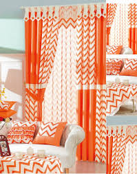 Orange And White Curtains Brief Ready Made Orange And White Striped Chevron Curtains