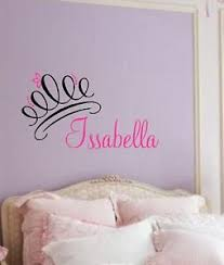 girls bedroom wall decals princess crown with name curly vinyl wall decal custom decor girls