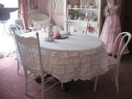 Oblong Table Cloth Shabby Cats And Roses Ruffled Bedskirt Turned Tablecloth