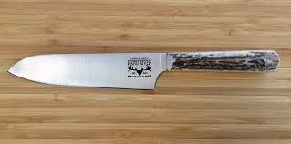 Engraved Kitchen Knives Santoku Custom Kitchen Knife With Elk Antler Handle