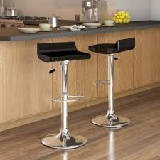 Adjustable Bar Stool With Back Corliving Low Back Adjustable Bar Stool In Black Gloss Set Of 2