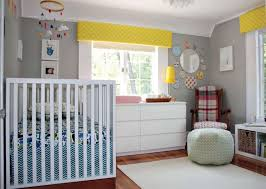 Baby Valances Unisex Baby Nursery With White Furniture And Yellow Valances