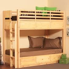 complete your simple bedroom with low profile bunk bed homesfeed natural tone low profile bunk bed design with green and brown combination and wooden floor and