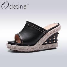 odetina 2017 summer genuine leather platform wedges sandals new