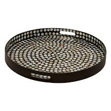 Serving Tray Ottoman by Shop Woodland Imports 24 In X 24 In Black Wood Round Serving Tray