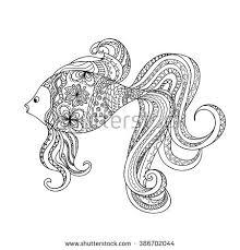 hand drawn decorated cartoon fish boho stock vector 386702044