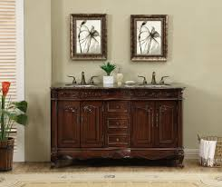 Granite Bathroom Vanity 60 Inch Antique Style Double Sink Bathroom Vanity Cabinet With