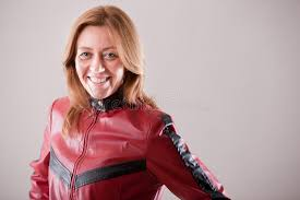 hard rock woman in red leather jacket stock photo image 47575890
