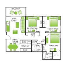 3 Bed Room Floor Plan Floor Plans The Treehouse Of Schaumburg Luxury Apartment Living