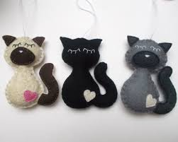 handmade felt cat ornaments grab a coffee