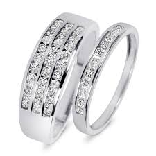 his and wedding bands 7 8 carat t w diamond his and hers wedding rings 14k white gold