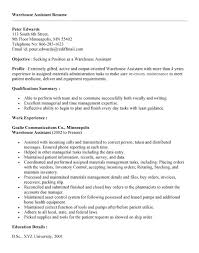 Sales Assistant Resume Sample by Warehouse Job Resume Sample Veterinary Assistant Resume Samples