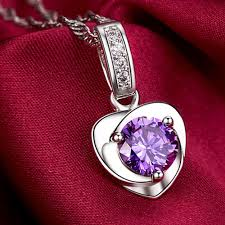 natural amethyst necklace images Buy iparam heart natural purple crystal necklace jpg