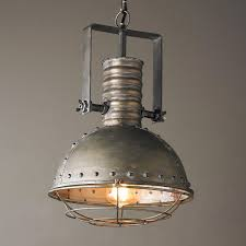 Industrial Kitchen Lighting by Industrial Caged Pendant With Rivets Rugged Style Bar Areas And