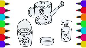 drawing gardening tools and coloring pages for kids children