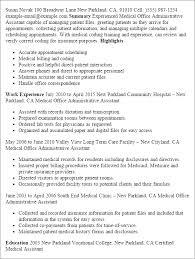 download medical administration sample resume