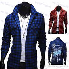 2017 2015 spring mens dress shirts plaid style fashion casual slim