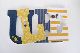 Decorating Wooden Letters Amazon Com Navy Blue And Yellow Custom Wooden Letters Baby Boy