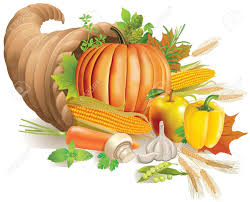 thanksgiving horn of plenty filled with harvest contains