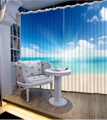 Patterned Window Curtains Curtains For Living Room Modern Blue Sky Landscape Patterned