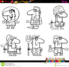 people occupations coloring page stock vector image 65992050
