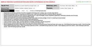 Supervisor Qualifications Resume Finishing Supervisor Resume Sample