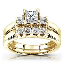 stone wedding rings images 3 stone princess cut diamond wedding ring set in 14k yellow gold 7 jpg